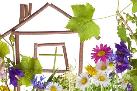Children's application, collage on white page from flowers. The sweet lovely home concept. Isolated on white.
