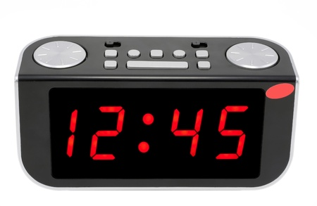 Modern abstract compact digital electronic clock mass production.Isolated with set and display patches photo