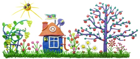 Lovely sweet home  and garden isolated plasticine  children collage Stock Photo