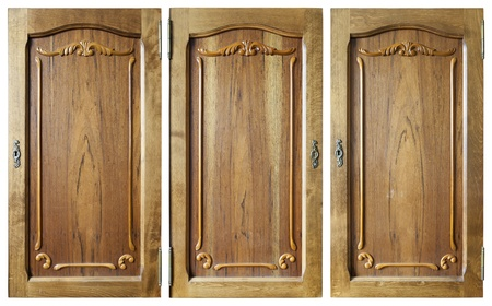 Doors set  of a wooden room case are made of a rare beautiful tree photo