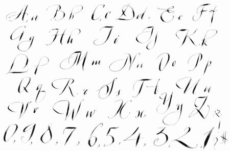 calligraphy alphabet: Calligraphy hand-written handmade England Alphabet  in back ink isolated