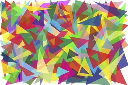 one hundred multi-colored triangles simple background photo