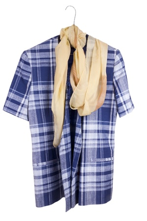 Old  checkered woman's retro blue  jacket and silk scarf hanging on a hanger. Isolated with patch. Mass production.  Stock Photo - 12995699
