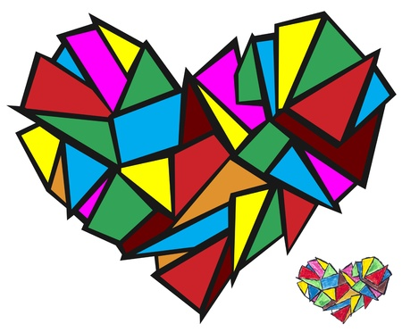 broken heart abstract concept- isolated  illustration illustration