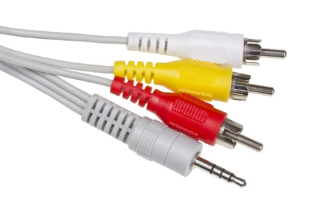 Red,  yellow, white  connectors for switching audio and video signals in modern electronic equipment macro. Isolated with patch Stock Photo - 14361057