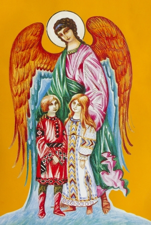 jesus paintings: Ancient fresco icon of the old wall of the church-  Guardian Angel for children Editorial