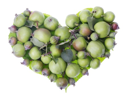 Heart simbol made from green unripe small apples. Isolated health concept studio shot Stock Photo - 14361576