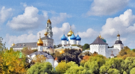 Panorama of a monastery known and esteemed in Russia Troice-Sergieva Lavra, a sunny day. Oiil abstract art iomage Editorial