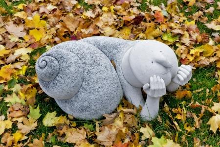 From the life of ordinary snails- public domain concept art sculpture autumn park image  photo