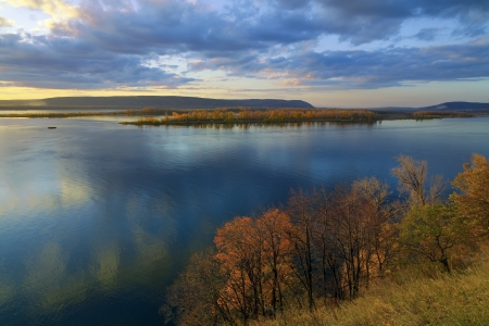 Autumn sunset landscape - great well-known river Volga, Zhiguli Hills