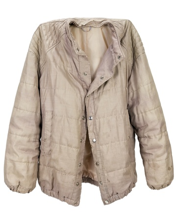 jobless: Old dirty pink nylon mans jacket of the last century. It was carried by the homeless jobless country person. Isolated with patch Stock Photo