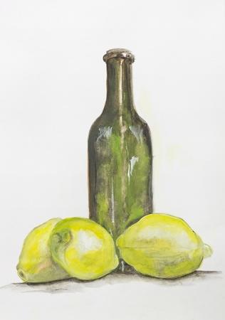 Yellow lemon and green glass bottle of lemonade still life -handmade acrylic painting illustration on a white paper art background illustration