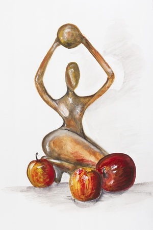 mahogany: Sculpture of a woman in the African style is made from mahogany with red apples-  handmade acrylic painting still life  illustration on a white paper art background