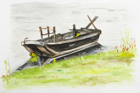 Small boat near the meadow summer coast landscape - handmade acrylic painting illustration on a white paper art background illustration