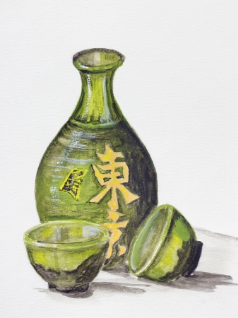 Japanese rice wine - Sake concept. Clay bottle and cups for a drink. Still life handmade acrylic painting illustration on a white paper art background  illustration