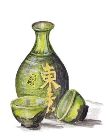 tipple: Japanese rice wine - Sake concept. Clay bottle and cups for a drink. Still life handmade acrylic painting illustration on a white paper art background  Stock Photo