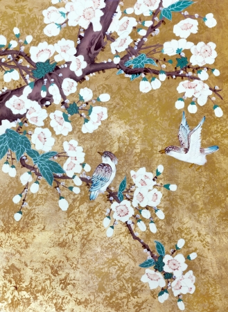 to lacquer: Hummingbirds  flying over the flowers blossoming Chinese  cherry. Picture is handmade drawn in the style of Chinese lacquer painting.  Stock Photo