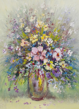 summer wild meadow  fantastic flowers  bouquet in ceramic  vase still life oil art handmade painting