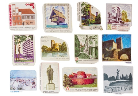 union beach: Ideological paper banners set collection of the totalitarian Soviet Union.  Lithuanian republic cities . Images are manually cut out from old post envelopes of the 50-70th years of XX century. Isolated with patch