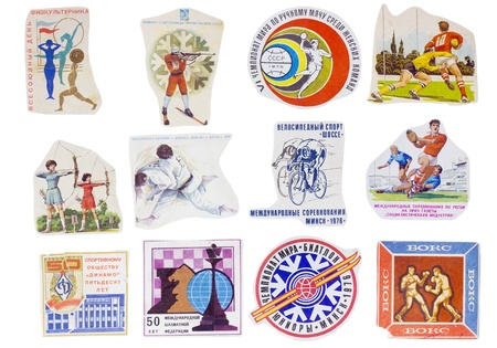 Ideological paper banners set collection of the totalitarian Soviet Union. Sport and Physical Education subject. Images are manually cut out from old post envelopes of the 60-80th years of XX century. Isolated with patch