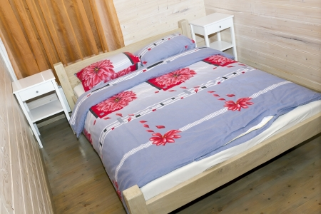 prespective: Bedroom in rural rustic mass production pension wooden hotel  with king-size bed and nightstands  Art prespective