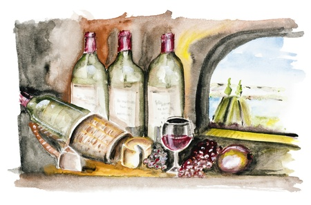 Bottle-aged French wine, cheese and grapes in the kitchen of the castle. Outside the window, summer landscape and river.Handmade watercolor painting illustration on a white paper art background isolated