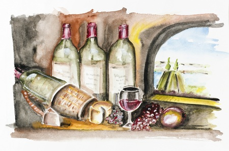 Bottle-aged French wine, cheese and grapes in the kitchen of the castle. Outside the window, summer landscape and river.Handmade watercolor painting illustration on a white paper art background illustration