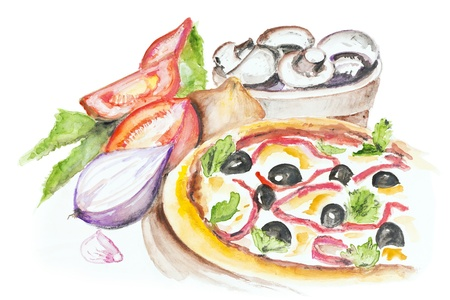 Pizza Margarita with olives, peppers, tomatoes, basil, onion and mushrooms isolated. Handmade watercolor painting illustration on a white paper art background