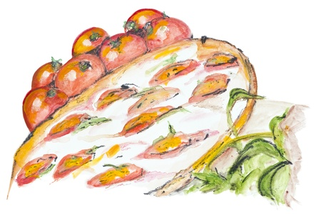 mozzarella cheese: Margarita pizza with white mozzarella cheese concept isolated.  Handmade watercolor painting illustration on a white paper art background Stock Photo