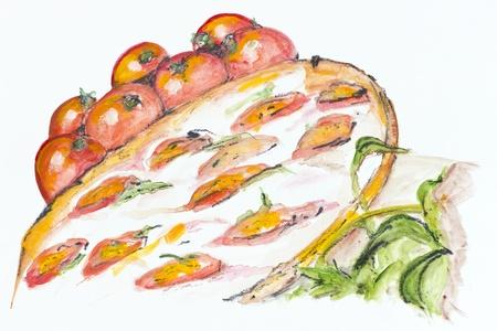 mozzarella cheese: Margarita pizza with white mozzarella cheese concept.  Handmade watercolor painting illustration on a white paper art background