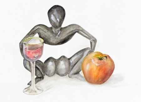 paper sculpture: Party with red wine,  apple, and figurine from an ebony  in the African style-  - handmade watercolor  painting  illustration on a white paper art background