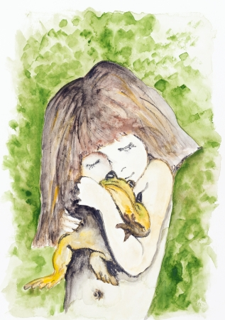wonderment: Tinni girl and big frog in Africa -  handmade watercolor  painting illustration on a white paper art background