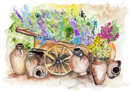 The rural wooden cart with lavender bunches of flowers,  a lot of big clay jugs with sunflowers- handmade watercolor painting illustration on a white paper art background Standard-Bild