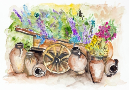 The rural wooden cart with lavender bunches of flowers,  a lot of big clay jugs with sunflowers- handmade watercolor painting illustration on a white paper art background illustration