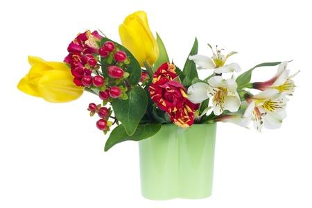 floristic: Horizontal minimalistic floristic decoration border in green jug. Isolated