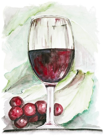 Wineglass  with red wine and grapes isolated-  handmade watercolor painting  illustration on a white paper art background illustration