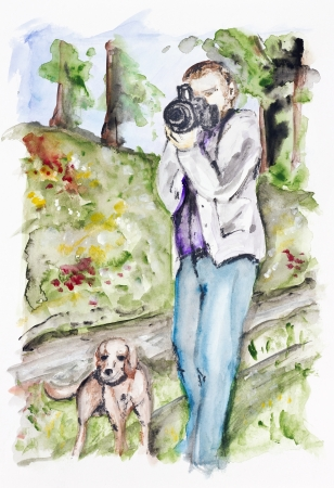 The photographer with a dog in the summer forest- handmade watercolor painting  illustration on a white paper art background illustration