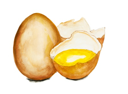 raw egg: Golden raw egg concept isolated-handmade watercolor  painting  illustration on a white paper art background
