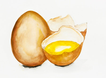 raw egg: Golden raw egg concept-handmade watercolor  painting  illustration on a white paper art background