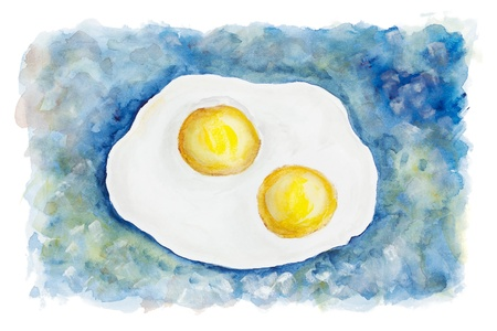 yoke: Heavenly flying fried eggs on two persons abstract concept isolated- handmade watercolor  painting  illustration on a white paper art background Stock Photo