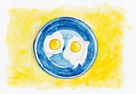 yoke: Desert fried eggs on a blue plate in sand concept- handmade watercolor  painting  illustration on a white paper art background Stock Photo