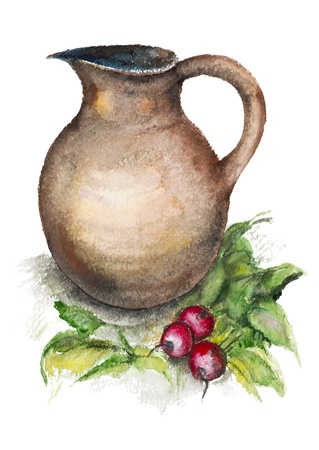 bulb and stem vegetables: Still life with a spring radish and a big jug isolated- handmade watercolor painting illustration on a white paper art background Stock Photo
