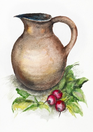 bulb and stem vegetables: Still life with a spring radish and a big jug - handmade watercolor painting illustration on a white paper art background