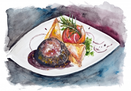 Romantic dinner - a steak from beef with large salt and pepper, tomato with rosemary and potato and cheese casserole isolated. Handmade watercolor painting illustration on a white paper art background