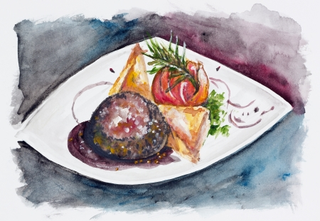 Romantic dinner - a steak from beef with large salt and pepper, tomato with rosemary and potato and cheese casserole. Handmade watercolor painting illustration on a white paper art background