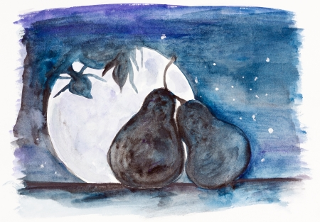 vine pear: Starlit night of two  enamoured  pear fruit in love concept- handmade watercolor painting illustration on a white paper art background Stock Photo