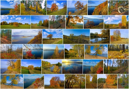 Russian autumn season time collage from natural landscape\ shots