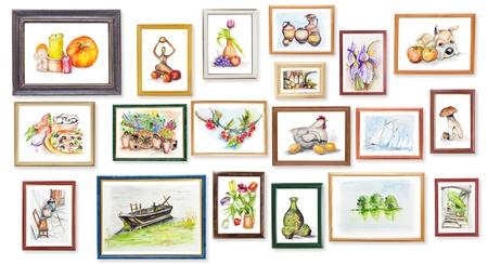 Exposición de arte de la acuarela en blanco concepto de collage de pared de los niños escolares