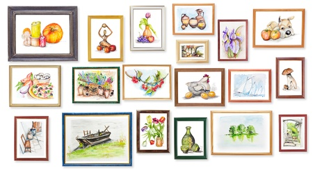 paintings: School childrens exhibition of watercolor arts on white wall collage concept
