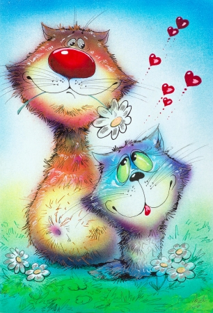 Cats Valentines love and daisies in a meadow caricature picture. Painted with airbrush and pen photo